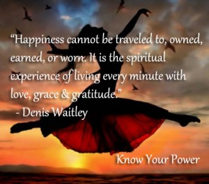 Happines is the spiritual experience of living