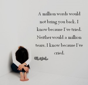 A million words would not bring you back i know because ive trie