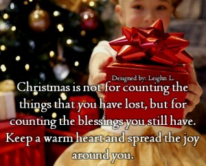 Christmas is not for counting the things that you have lost