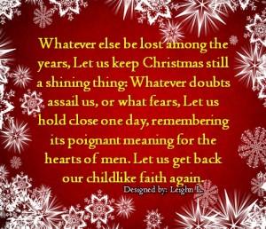 Let us keep christmas still a shining thing
