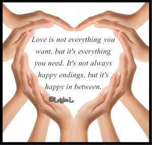Love is not everything you want but its everything you need