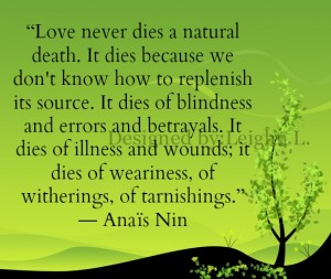 Love never dies in a natural death