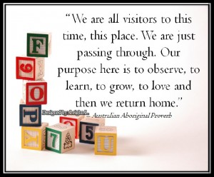 We are all visitors to this time this place