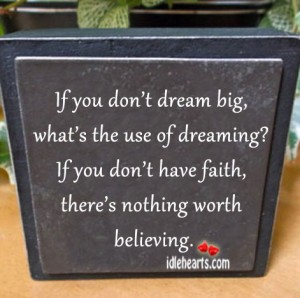 If you don't dream big, what's the use