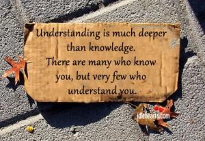 Understanding is much deeper than knowledge