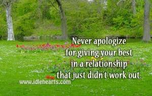 Never apologize for giving