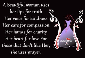 A Beautiful woman uses her lips for truth