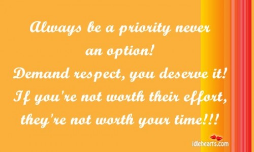 Always be a priority never a option