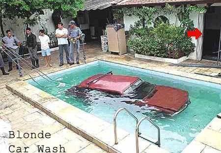 Blonde way of car wash