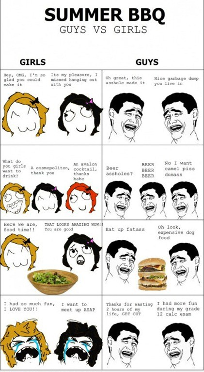 Summer bbq guys vs girls
