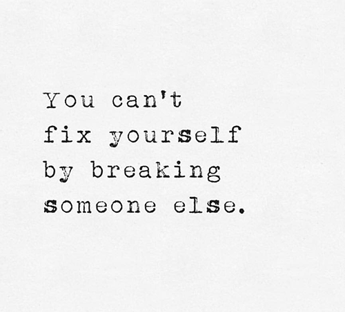 You can't fix by breaking others