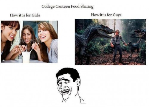 How girls and guys share college canteen food