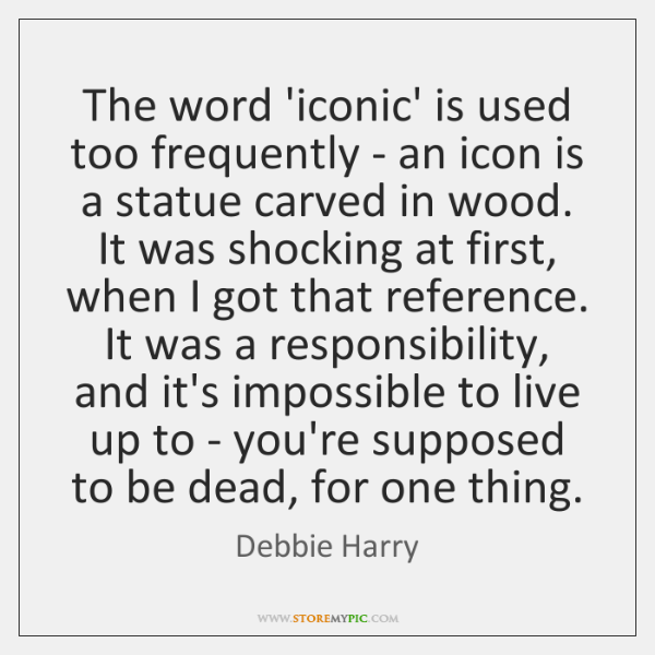 The word 'iconic' is used too frequently - an icon is a ...