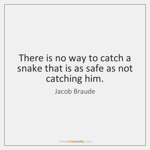 There is no way to catch a snake that is as safe ...