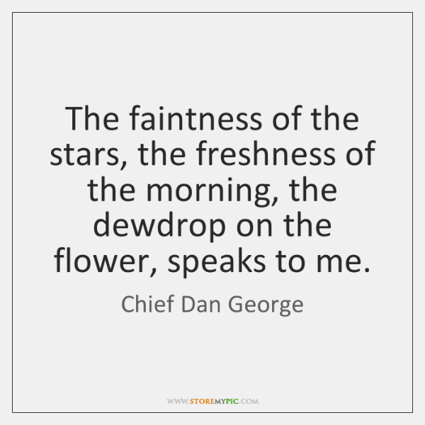 The faintness of the stars, the freshness of the morning, the dewdrop ...