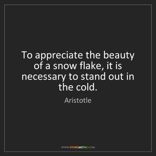 Aristotle: To appreciate the beauty of a snow flake, it is necessary...