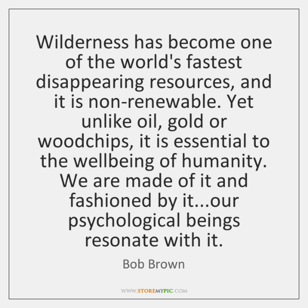Wilderness has become one of the world's fastest disappearing resources, and it ...