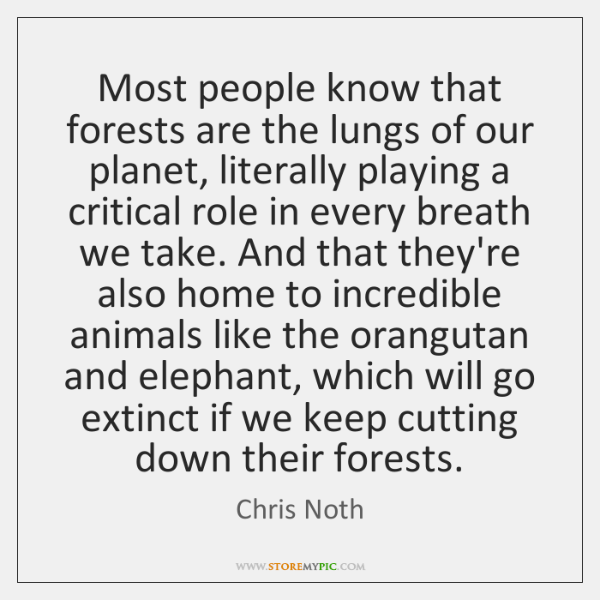 Most people know that forests are the lungs of our planet, literally ...