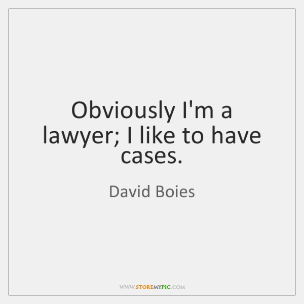 Obviously I'm a lawyer; I like to have cases.