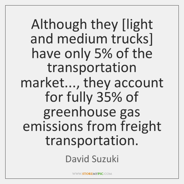Although they [light and medium trucks] have only 5% of the transportation market..., ...