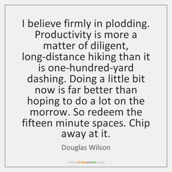 I believe firmly in plodding. Productivity is more a matter of diligent, ...