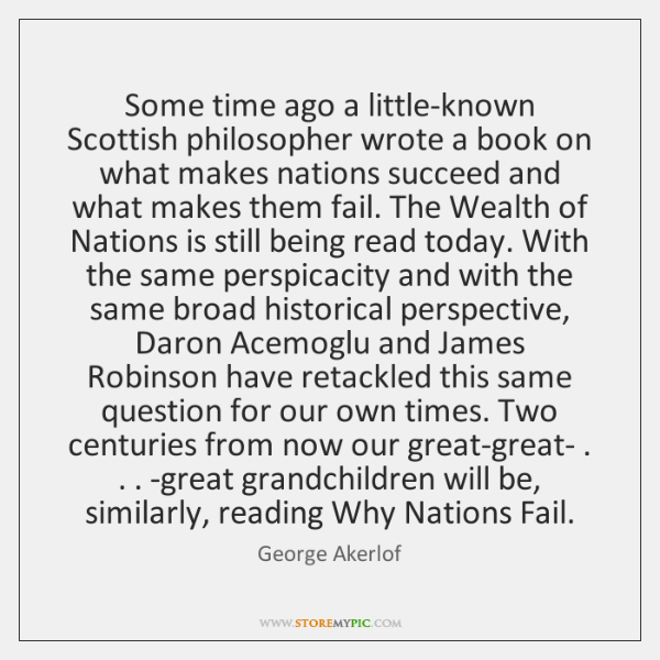 Some time ago a little-known Scottish philosopher wrote a book on what ...