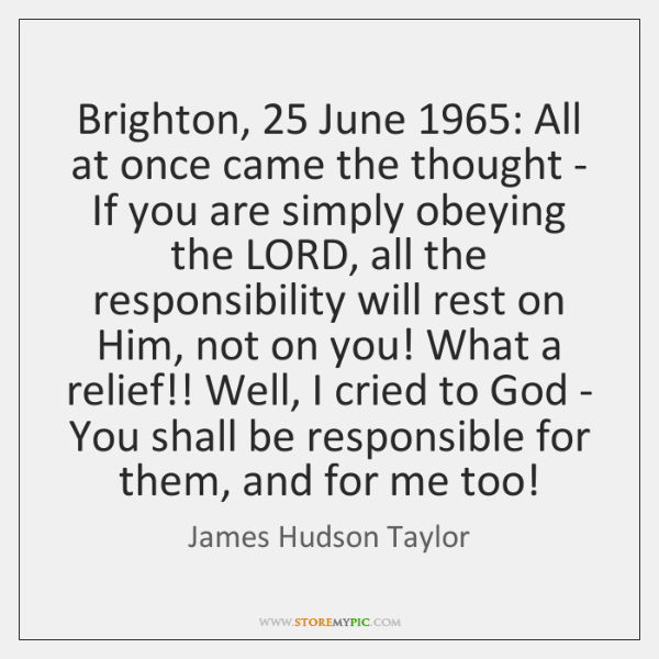 Brighton, 25 June 1965: All at once came the thought - If you are ...