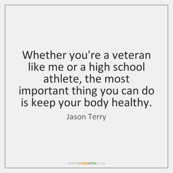 Whether you're a veteran like me or a high school athlete, the ...