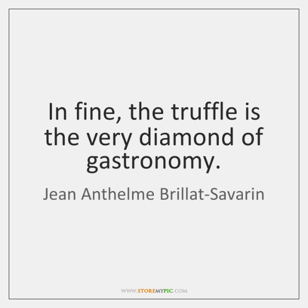 In fine, the truffle is the very diamond of gastronomy.
