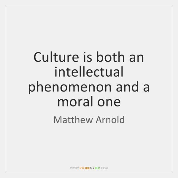 Culture is both an intellectual phenomenon and a moral one
