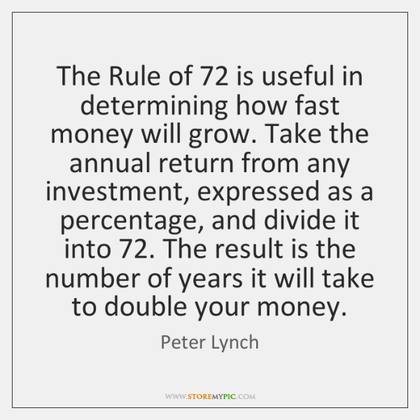 The Rule of 72 is useful in determining how fast money will grow. ...