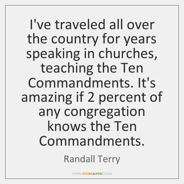I've traveled all over the country for years speaking in churches, teaching ...