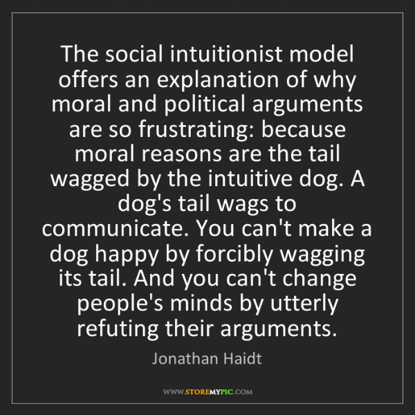 Jonathan Haidt: The social intuitionist model offers an explanation of...