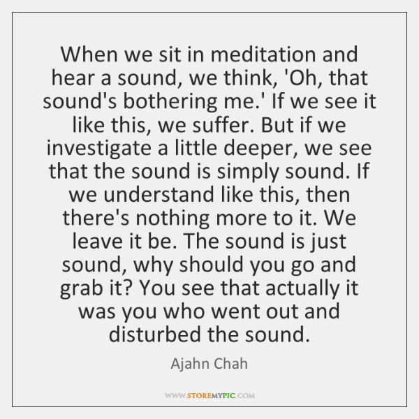 When we sit in meditation and hear a sound, we think, 'Oh, ...