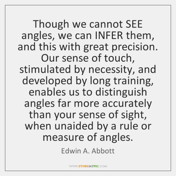 Though we cannot SEE angles, we can INFER them, and this with ...