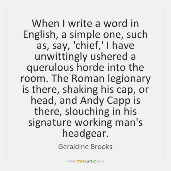 When I write a word in English, a simple one, such as, ...