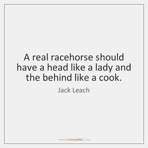 A real racehorse should have a head like a lady and the ...