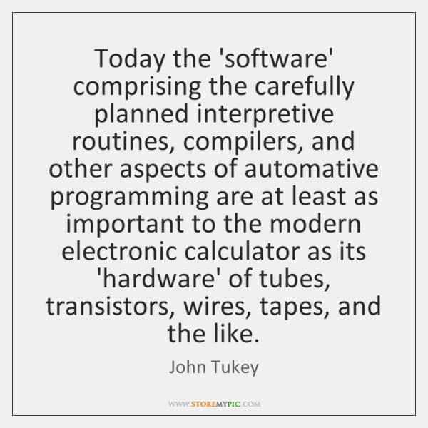 Today the 'software' comprising the carefully planned interpretive routines, compilers, and other ..