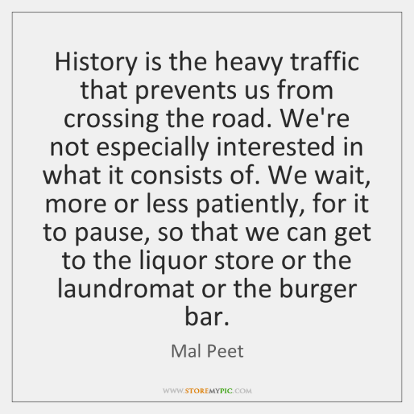 History is the heavy traffic that prevents us from crossing the road. ...