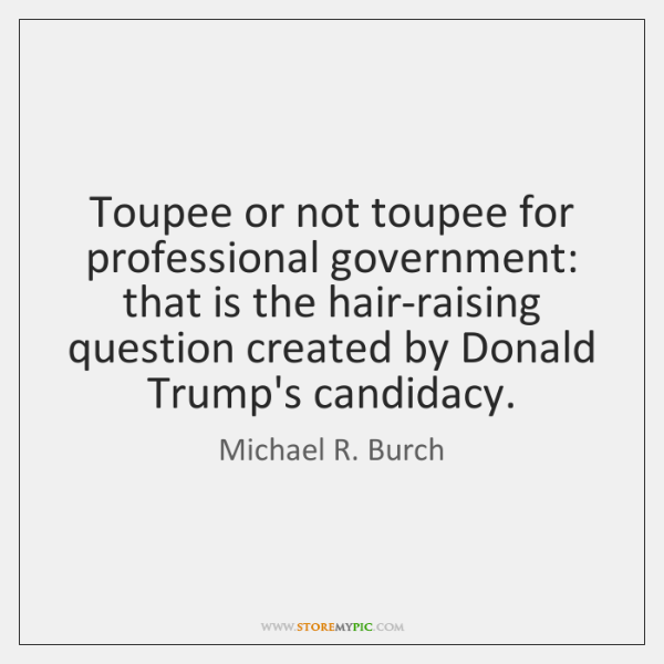 Toupee or not toupee for professional government: that is the hair-raising question ...