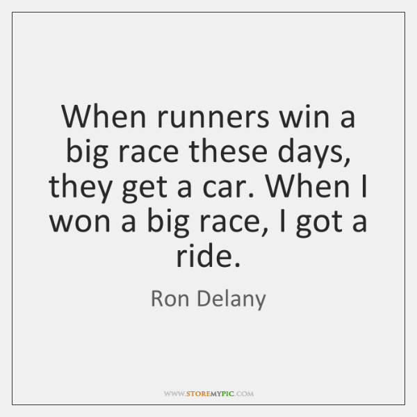 When runners win a big race these days, they get a car. ...