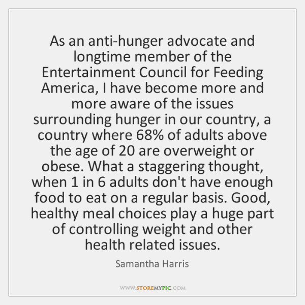 As an anti-hunger advocate and longtime member of the Entertainment Council for ...