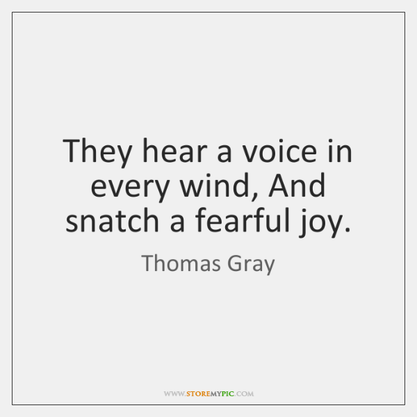 They hear a voice in every wind, And snatch a fearful joy.