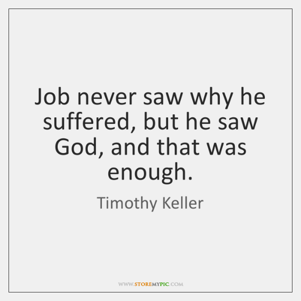 Job never saw why he suffered, but he saw God, and that ...