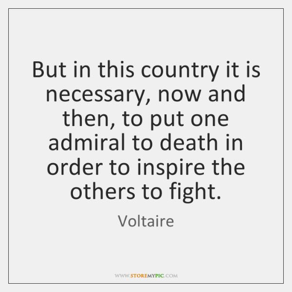 But in this country it is necessary, now and then, to put ...