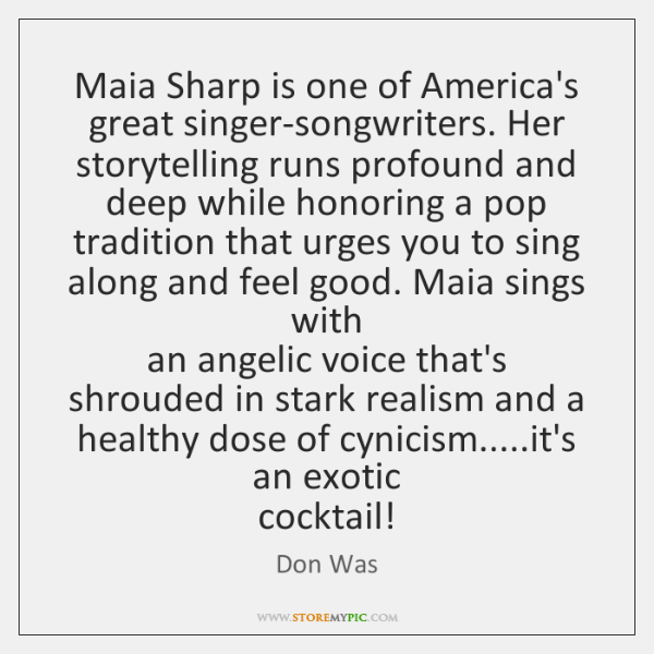 Maia Sharp is one of America's great singer-songwriters. Her storytelling runs profound ...