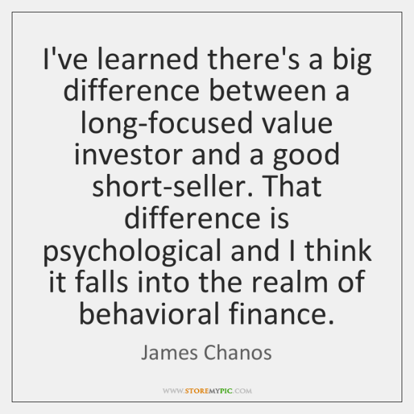 I've learned there's a big difference between a long-focused value investor and ...