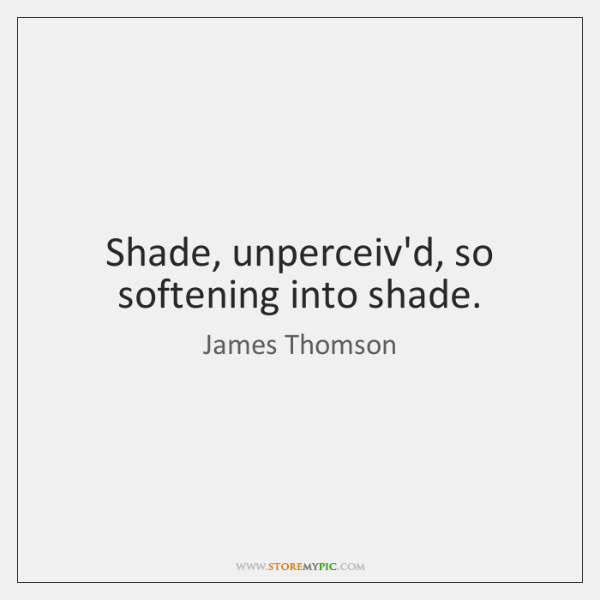 Shade, unperceiv'd, so softening into shade.