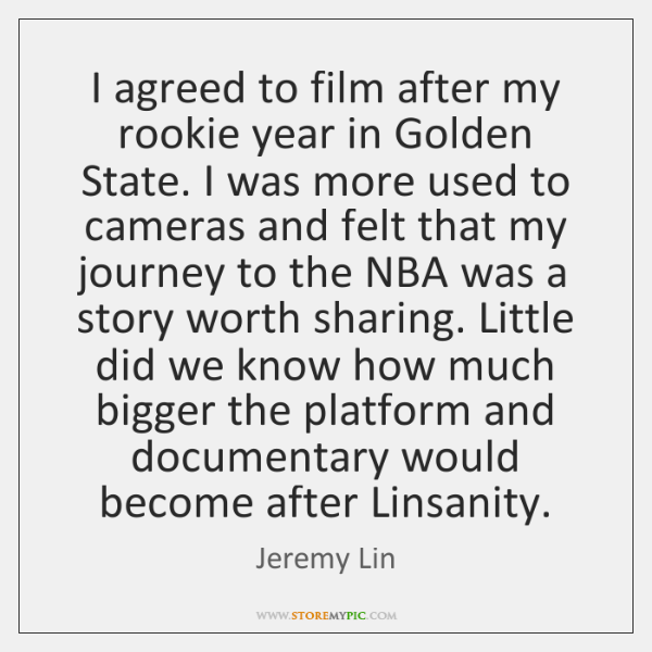 I agreed to film after my rookie year in Golden State. I ...