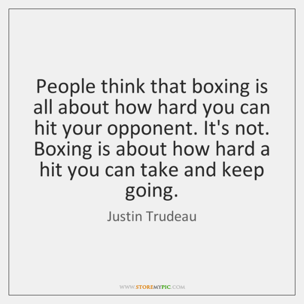 People think that boxing is all about how hard you can hit ...